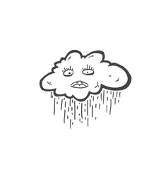 sketch doodle drawing icon of sad cloud with rain vector image