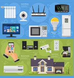 Smart house and internet things banners vector