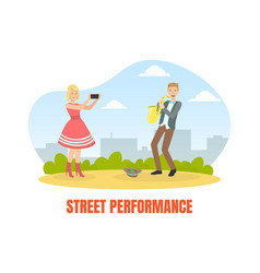 street performance male street musician playing vector image
