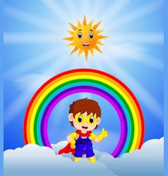 superhero boy and skies on the rainbow vector image