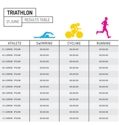table results triathlon vector image