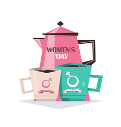 Tea pot with mugs womens day 8 march holiday vector