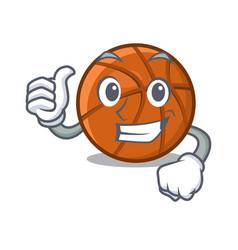 Thumbs up basket ball above cartoon table vector
