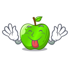 Tongue out green smith apple isolated on cartoon vector