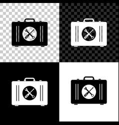 toolbox icon isolated on black white and vector image