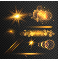 Transparent lens flare and light effects vector