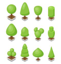 trees set 3d isometric vector image