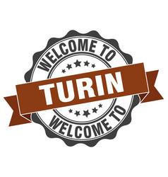 Turin round ribbon seal vector