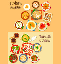 turkish cuisine traditional dinner dishes icon vector image