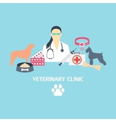 Veterinary clinic banner with dog and laboratory vector