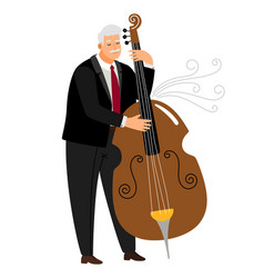 vrtuoso contrabassist man player jazz contrabass vector image