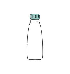 white plastic yogurt bottle doodle drawing of vector image