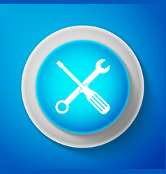 white spanner and screwdriver tools icon isolated vector image