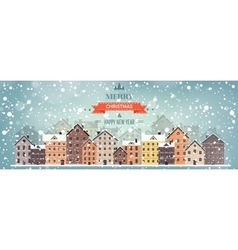 Winter urban landscape City vector