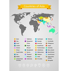 World map infographic template Countries of Asia vector