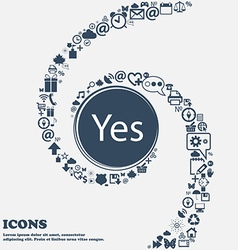 Yes sign icon Positive check symbol in the center vector