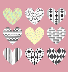 cute hearts on pink background with dots and vector image vector image