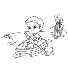 little boy rowing a boat coloring page vector image vector image