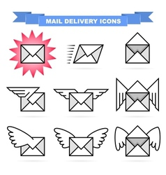 Mail delivery icons vector image vector image