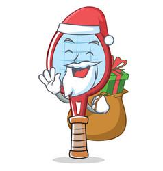 Santa tennis racket character cartoon vector