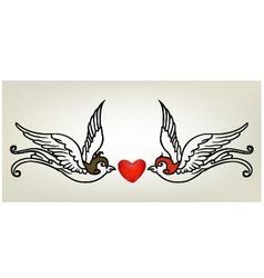 tattoo swallow heart vector image