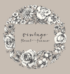 vintage flower frame space for text retro floral vector image vector image