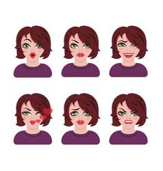 emoticon avatar girl vector image