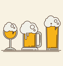 set of beer icons beer bottle glass pint vector image vector image