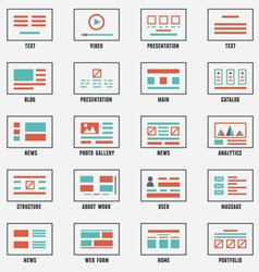 Set of sitemaps symbols for webpage vector image