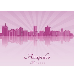Acapulco skyline in purple radiant orchid vector image vector image