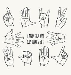 human hand gestures set vector image vector image