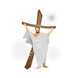 Jesus Christ Standing with A Wooden Cross vector image vector image