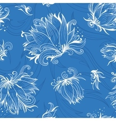 Lily Sketch Pattern vector image vector image