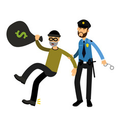 police officer character arresting robber vector image vector image