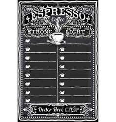 Vintage Hand Drawn Blackboard for Espresso Menu vector image