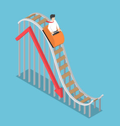 businessman is riding on a roller coaster with vector image vector image