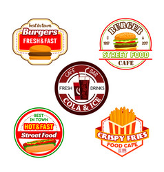 fast food burger snack and soda drink label design vector image vector image
