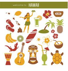 Hawaii sightseeing landmarks and famous vector