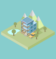 hotel booking 3d isometric design concept for web vector image