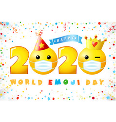 2020 happy emoji day 3d mask vector