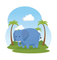 African elephant in the savannah wild character vector