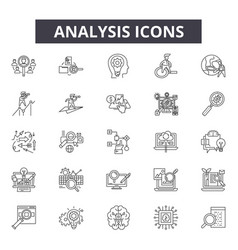 analysis line icons for web and mobile design vector image