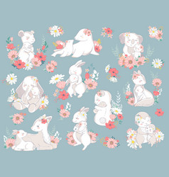 animal set family character vector image