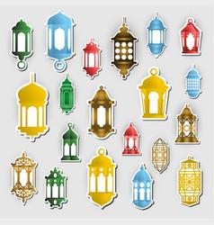 Arabic lantern sticker concept ramadan kareem vector
