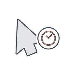 arrow click cursor hold mouse pointer icon vector image