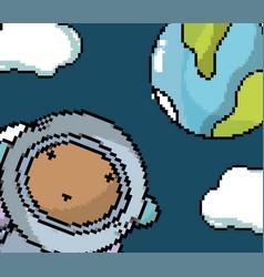 Astronaut boy in the galaxy pixel art vector