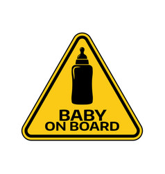 Baby on board sign with child bottle silhouette vector
