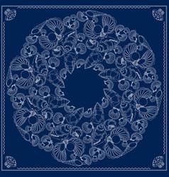 Bandana square pattern marine-themed vector