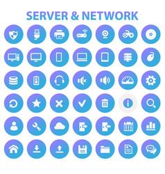 big server networks icon set trendy line icons vector image