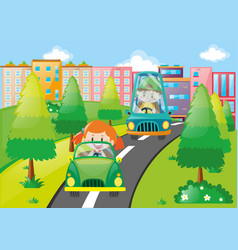 Boy and girl driving cars in the park vector